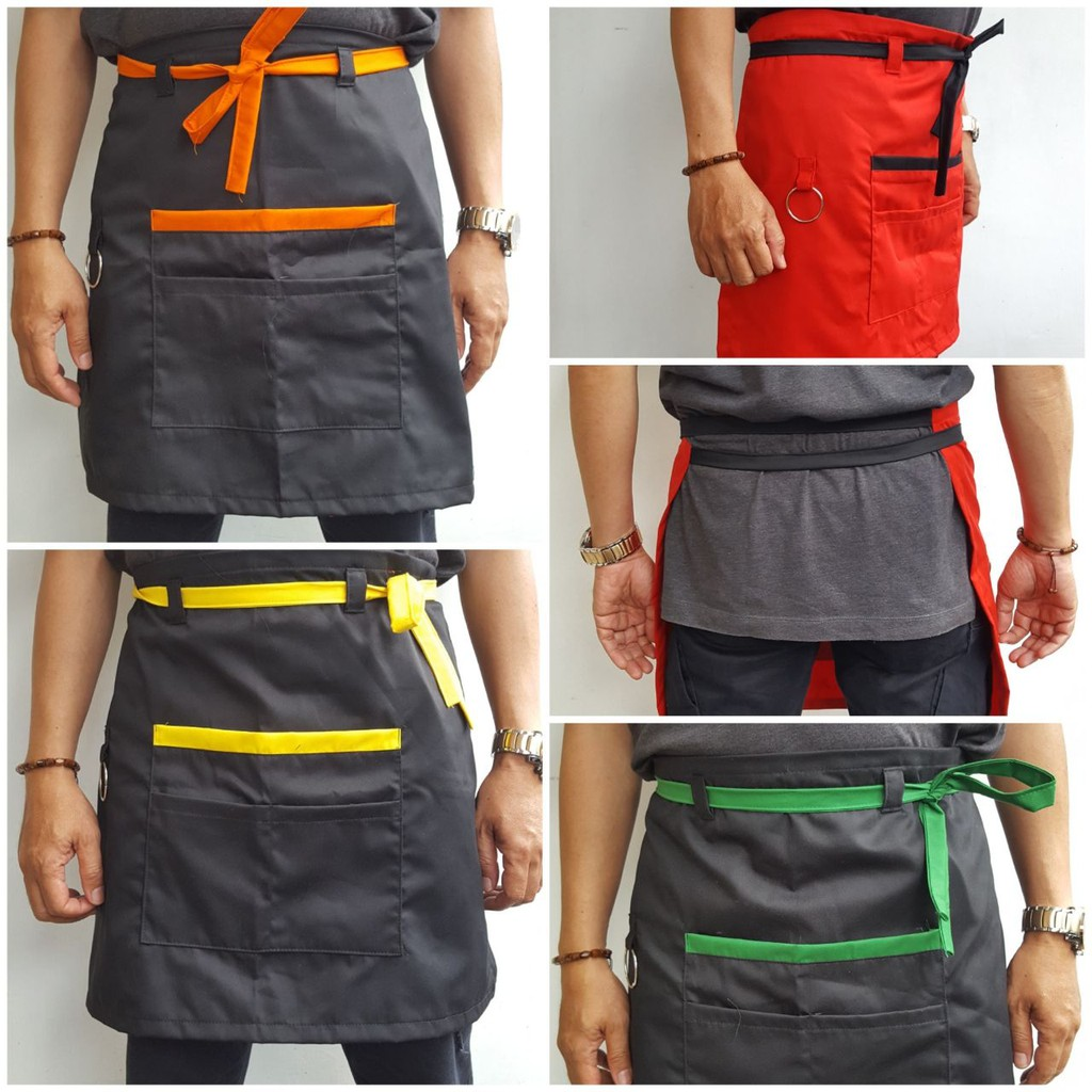 Apron Barista Barberman Bahan Twill Jeans Tali Synthetic Premium N Leather Model Kalung Shopee Indonesia