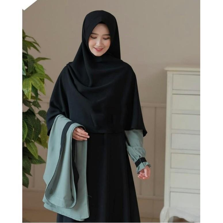 [ Gamis Terbaru ] Elbina Set dress Gamis + Outer [ no hijab ] Moscrape HQ   BISA COD   Gamis Elbina