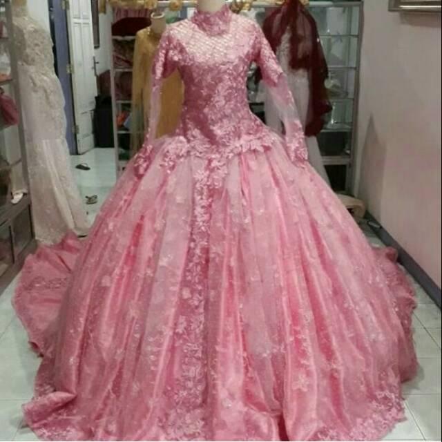 Gaun Pengantin Modern Barbie Warna Pink Beby