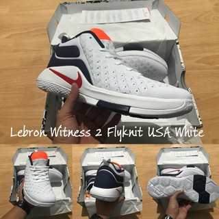 f958be2fba6e Sepatu basket Lebron Witness 2 Flyknit USA   White blue red   james putih  merah dongker biru