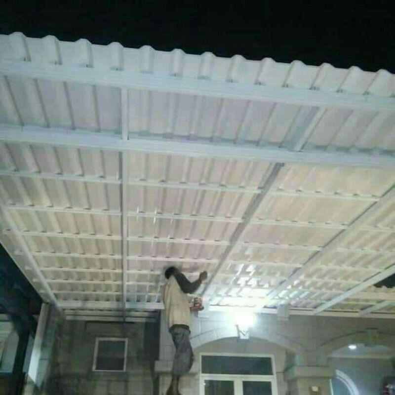 Kanopi atap alderon double layer terpasang
