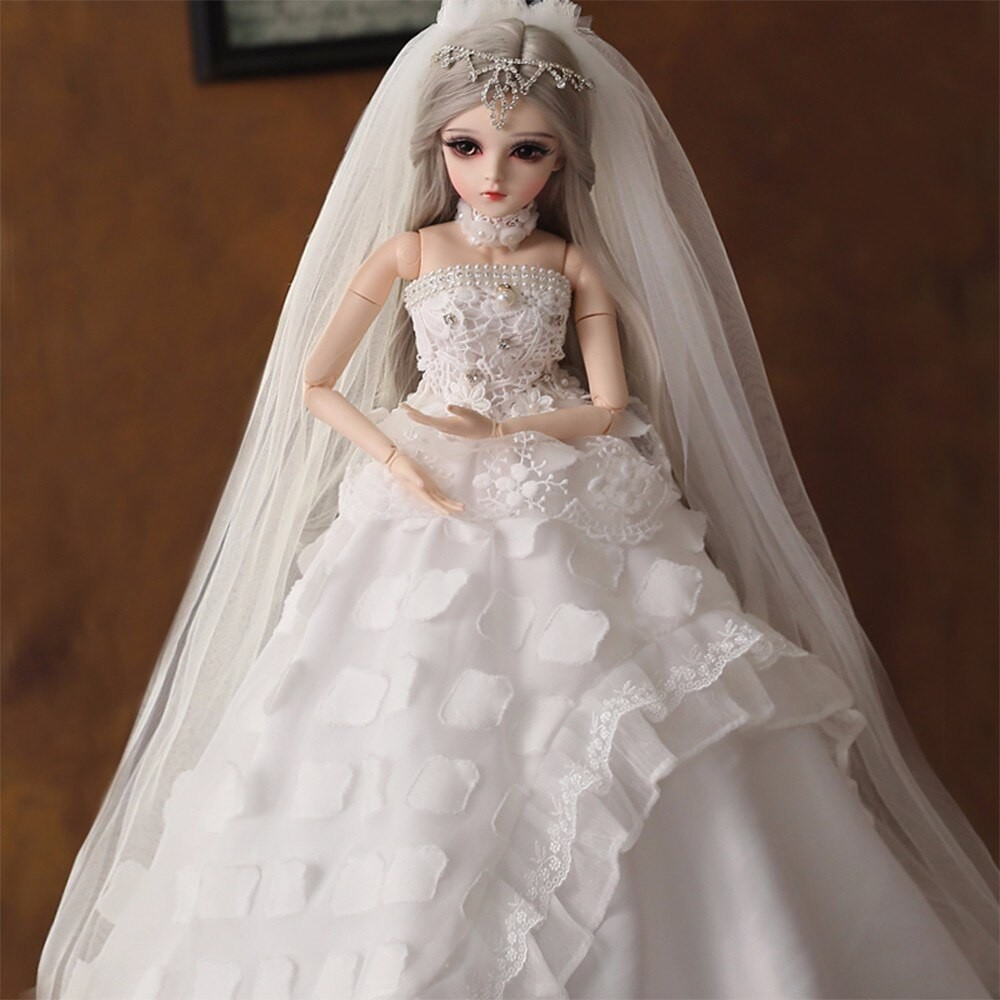 Handpainted 1//3 60cm BJD Doll With Wedding Dress Changeable Eyes Wigs Full Set