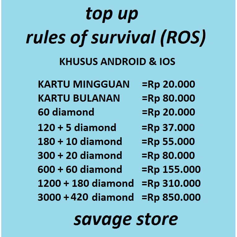 Top Up Diamond Rules Of Survival Ros Server Android Ios Shopee