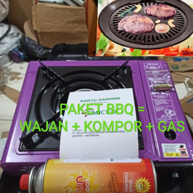 Paket BBQ Alat Panggang Bakar + grill pan + gas + kompor portable