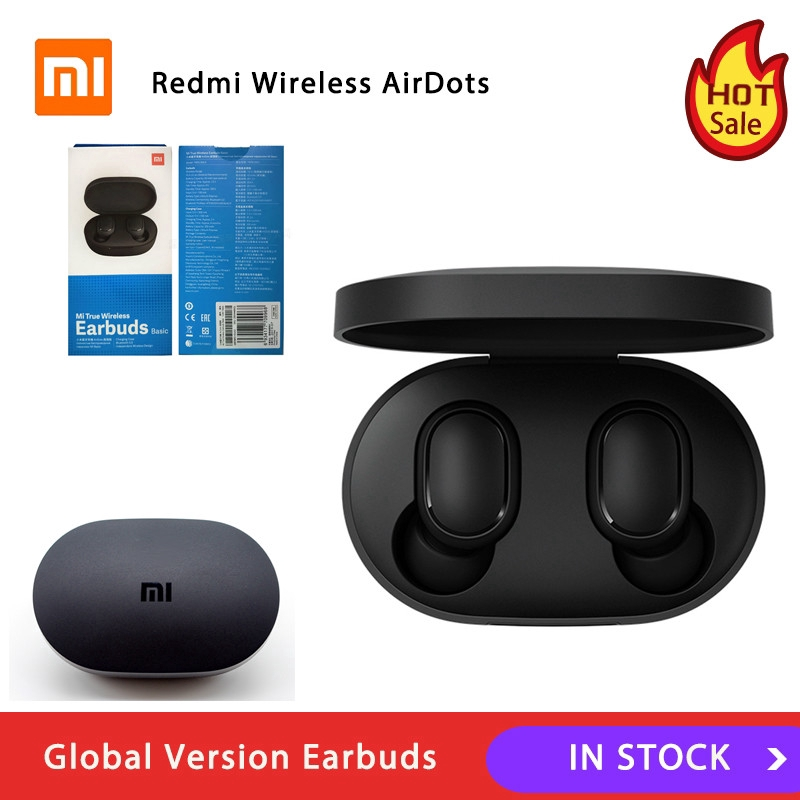 Global Version Xiaomi Redmi Airdots Tws Bluetooth Earphone Stereo Bass Bt 5 0 Eeadphones With Mic Handsfree Earbuds Ai Control Shopee Indonesia