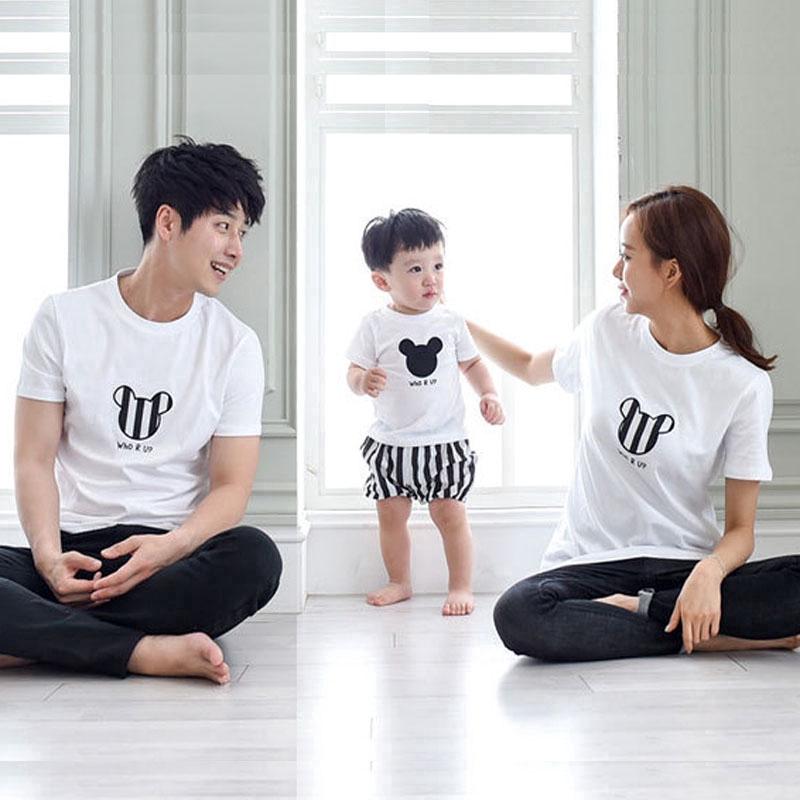 Kaos T Shirt Lengan Pendek Motif Print Kartun Untuk Ibu Anak Laki Laki Perempuan Shopee Indonesia
