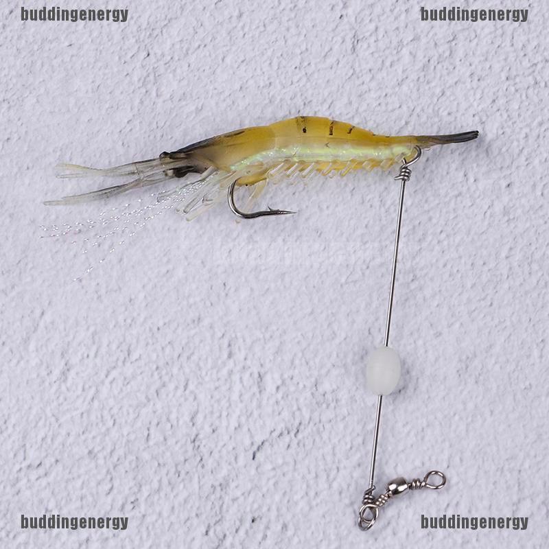 Fishing Shrimp Soft Lure Lot 1pc Bait Hook Artificial 9cm Jigging Worm Glow New
