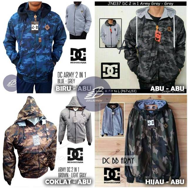 Jaket DC Pria Bolak-Balik Loreng Bahan Parasut Despo Fleece / Jaket BB Army | Shopee Indonesia