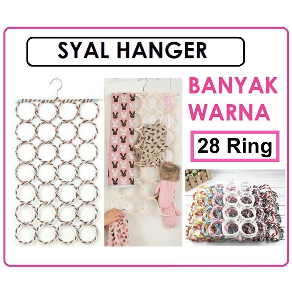 Gantungan Jilbab 28 Ring Shopee Indonesia Hhm048 Hijab Scarf Dasi Belt Dll 12 Loop