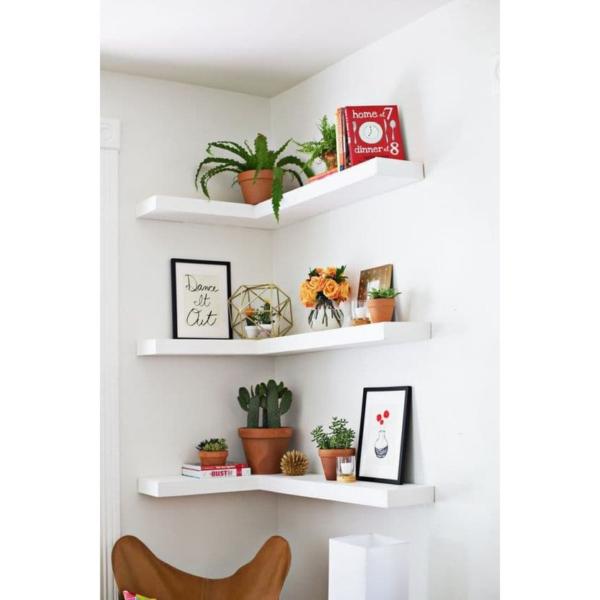 Papan Rak Dinding Sudut Minimalis Rak Buku Ambalan Dinding Rak Bunga Hiasan Dinding Ruang Tamu