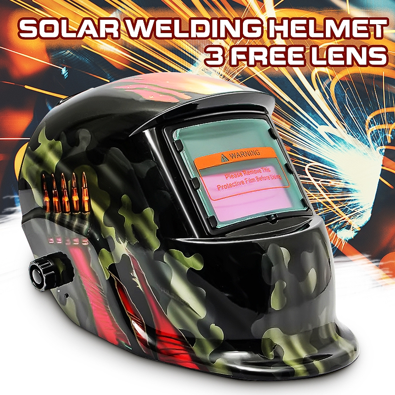 Pro Solar Powered Auto Darkening Welding Helmet Grinding TIG Welder Mask Lens