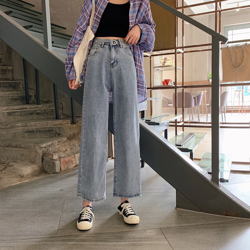 Straight Korean Jeans Hightwaist