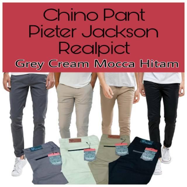 Celana Panjang Chino Pants DC Cowok Pria Distro Slimfit Cino Warna Hitam  Abu Cream Moc J0S4 38887f41e5