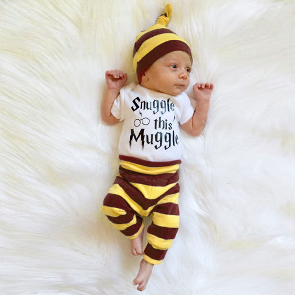 Tz6 3pcs Newborn Baby Boy Rompers Pants Leggings Hat Striped Outfits Set Clothes Cu Shopee Indonesia