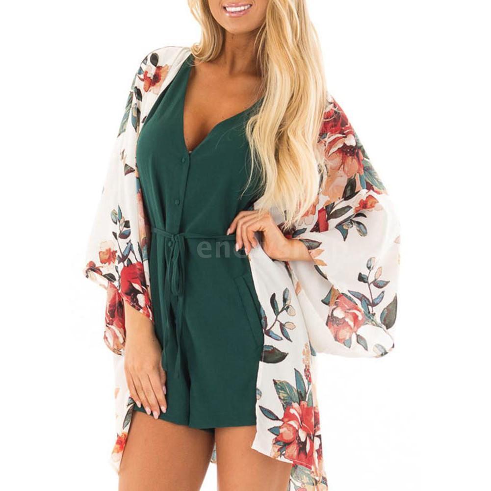 New Summer Women Chiffon Bikini Cover Up Kimono Floral Print Long Sleeve Cardigan Boho Beachwear