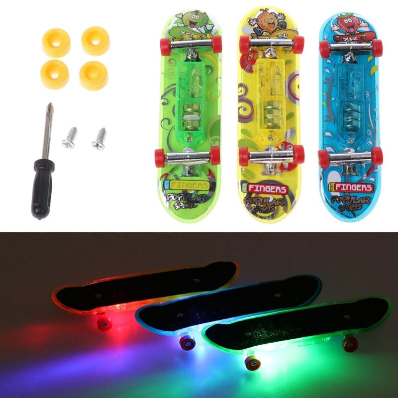 2pcs LED Mini Skateboard Finger Board Tech Deck Kids Toy Children Gift Baby Toys