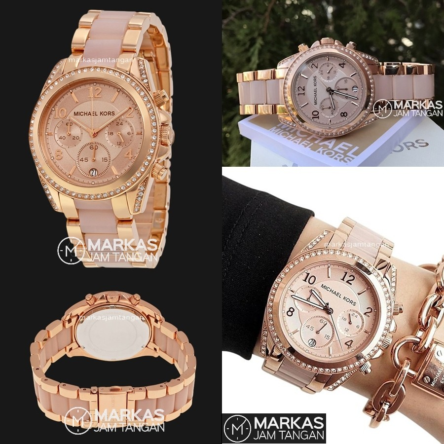 Jam Tangan Wanita Michael Kors MK Blair Series Chronograph S.Steel Women Watch ORIGINAL