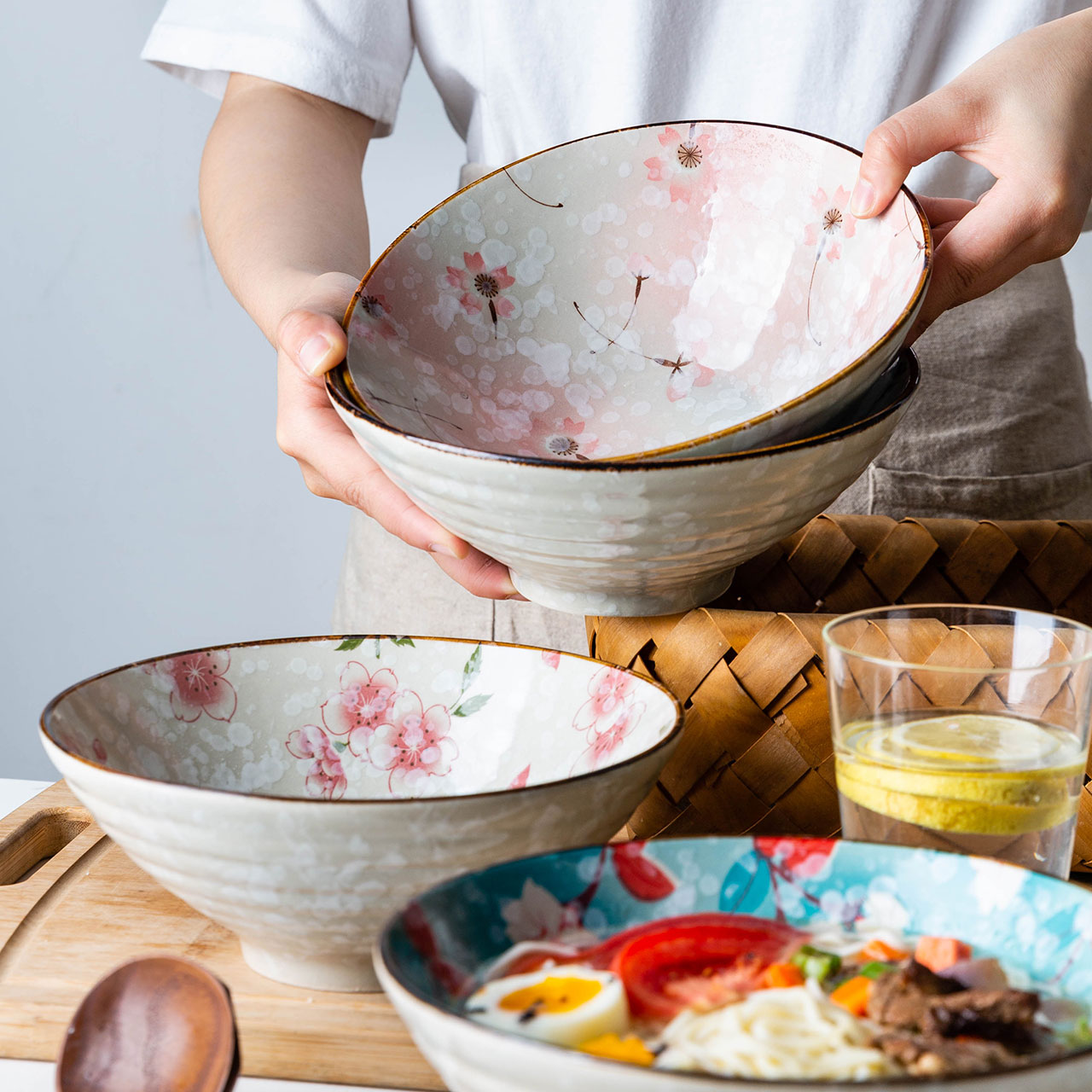 Modern Housewife Japanese Flower Ramen Bowl Single Large Noodle Soup Bowl Salad Bowl Hat Household Instant Noodle Bowl Shopee Indonesia
