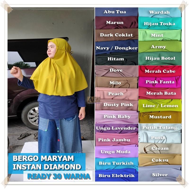 Bergo Maryam Diamond Instan 30 Warna Shopee Indonesia
