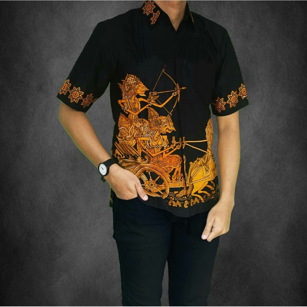 Jual Baju Batik Pria Baju Batik Modern kemeja batik pekalongan hem batik  kemeja motif Wayang Blok bccb5025e0