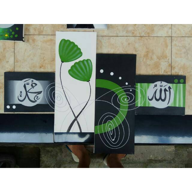 Lukisan panel kaligrafi bunga hijau