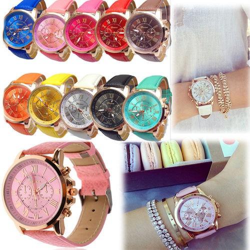 Jam Tangan Geneva Leather Quartz Jam Tangan Fashion Wanita Jam Tangan Kulit Analog Cewek | Shopee Indonesia