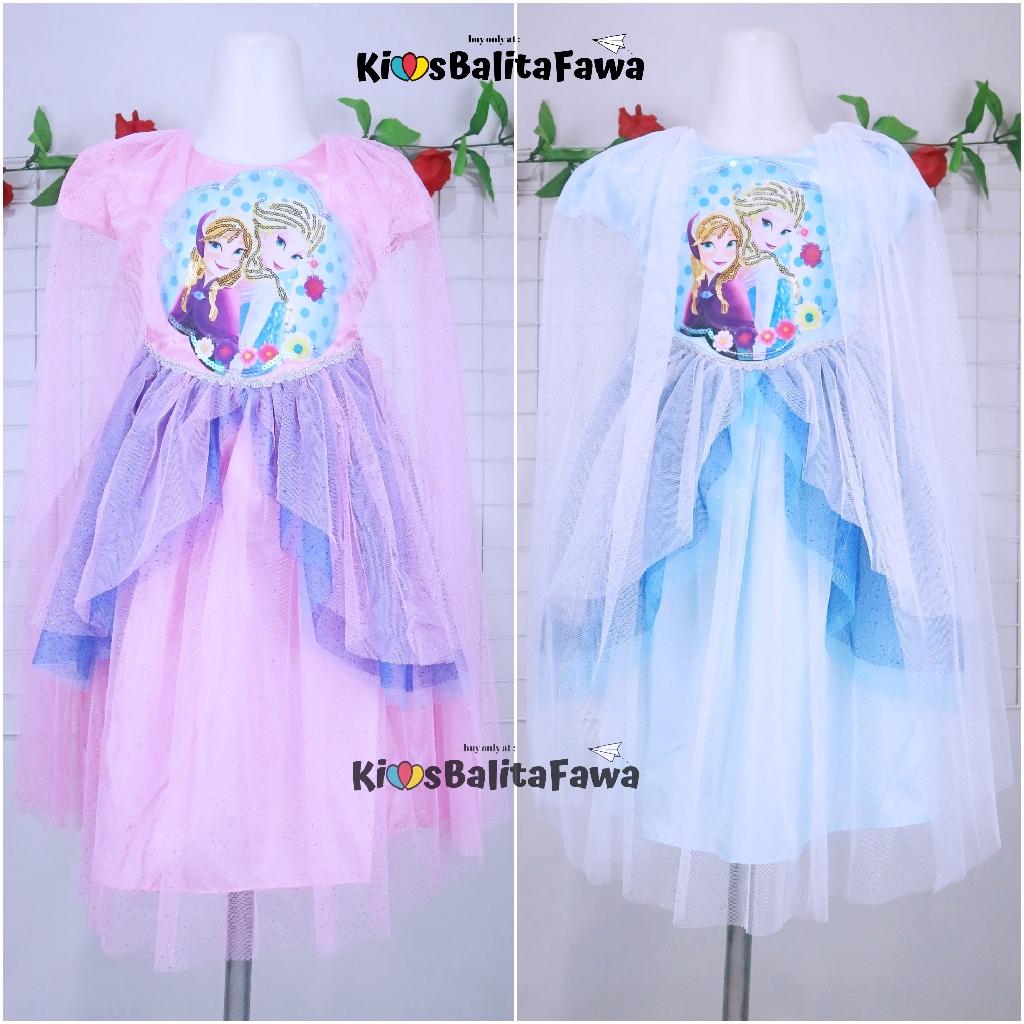 Gaun SNOWY FROZEN Size 8-8 Tahun / Ekspor Quality Premium Baju Dres Anak  Perempuan Dress Pesta