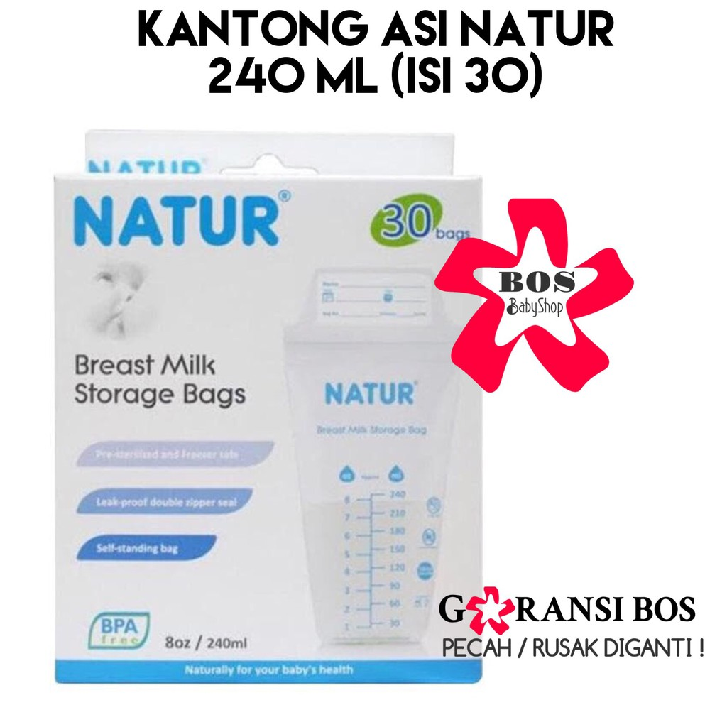 Natur Breastmilk Storage Bag Kantong Asi 240ml BPA Free - Isi 30 Pcs | Shopee Indonesia