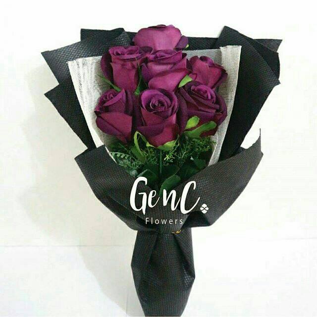 Buket Bunga Mewah Kado Romantis Bunga Rose Mawar Ungu Rose Ungu Purple Rose Shopee Indonesia