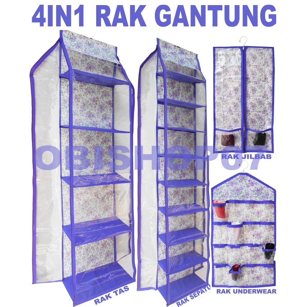 Hot Organizer Set 3in1 Resleting Hjo Hbo Hso Rak Sepatu Tas Jilbab Gantung 3 In 1 Shopee Indonesia