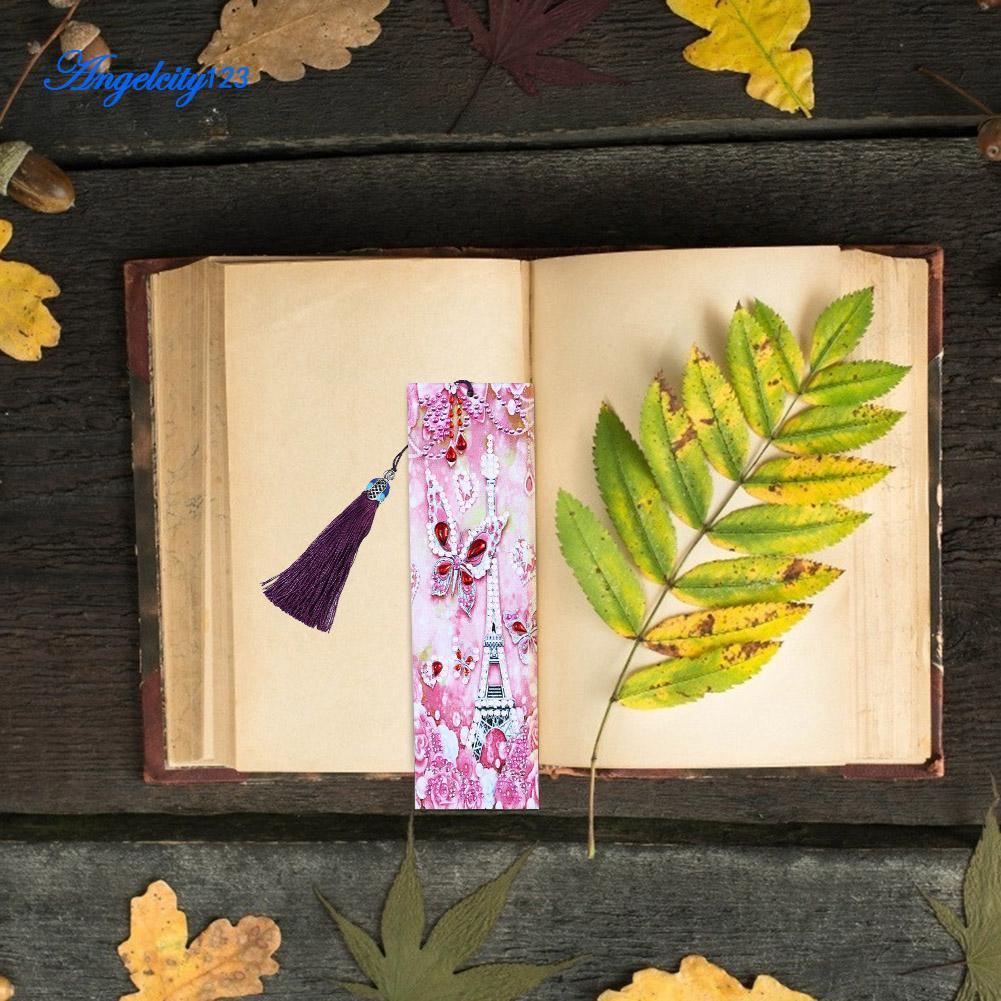 ANG Pembatas Buku Desain Lukisan Diamond Motif Bunga Rumbai Tali Kulit DIY Untuk Dekorasi