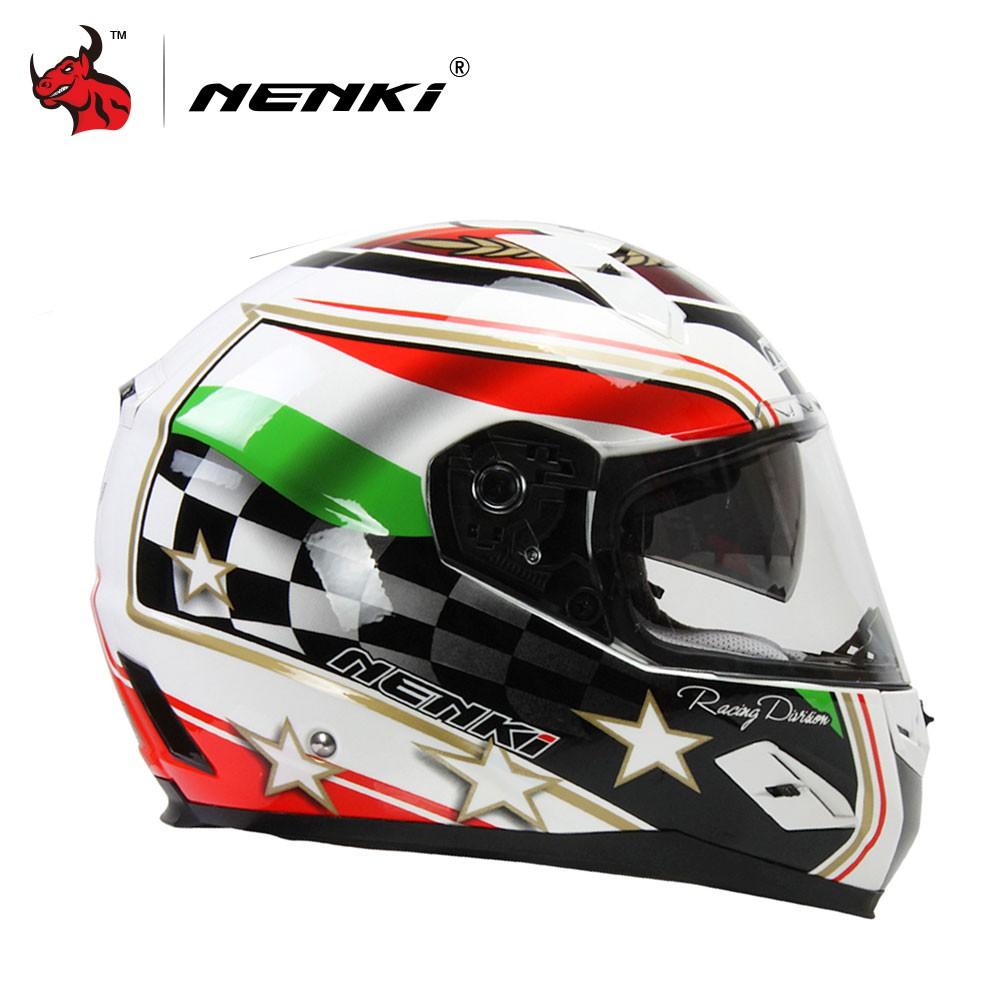 Kiiya-Auto Motorcycle Helmet Dual Lens Open Face Moto Helmet With Quick Released Buckel Color : L