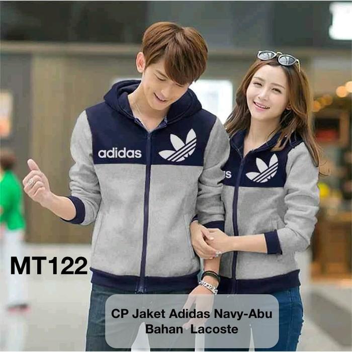 terlaris jaket couple / jacket couple / jaket pasangan murah adidas abu   Shopee Indonesia