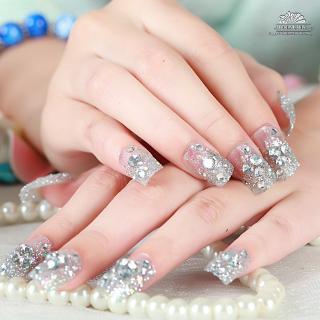 [Ready] 24Pcs Set Kuku Palsu Kristal Berlian Imitasi Warna Emas dengan Lem untuk Pernikahan 3