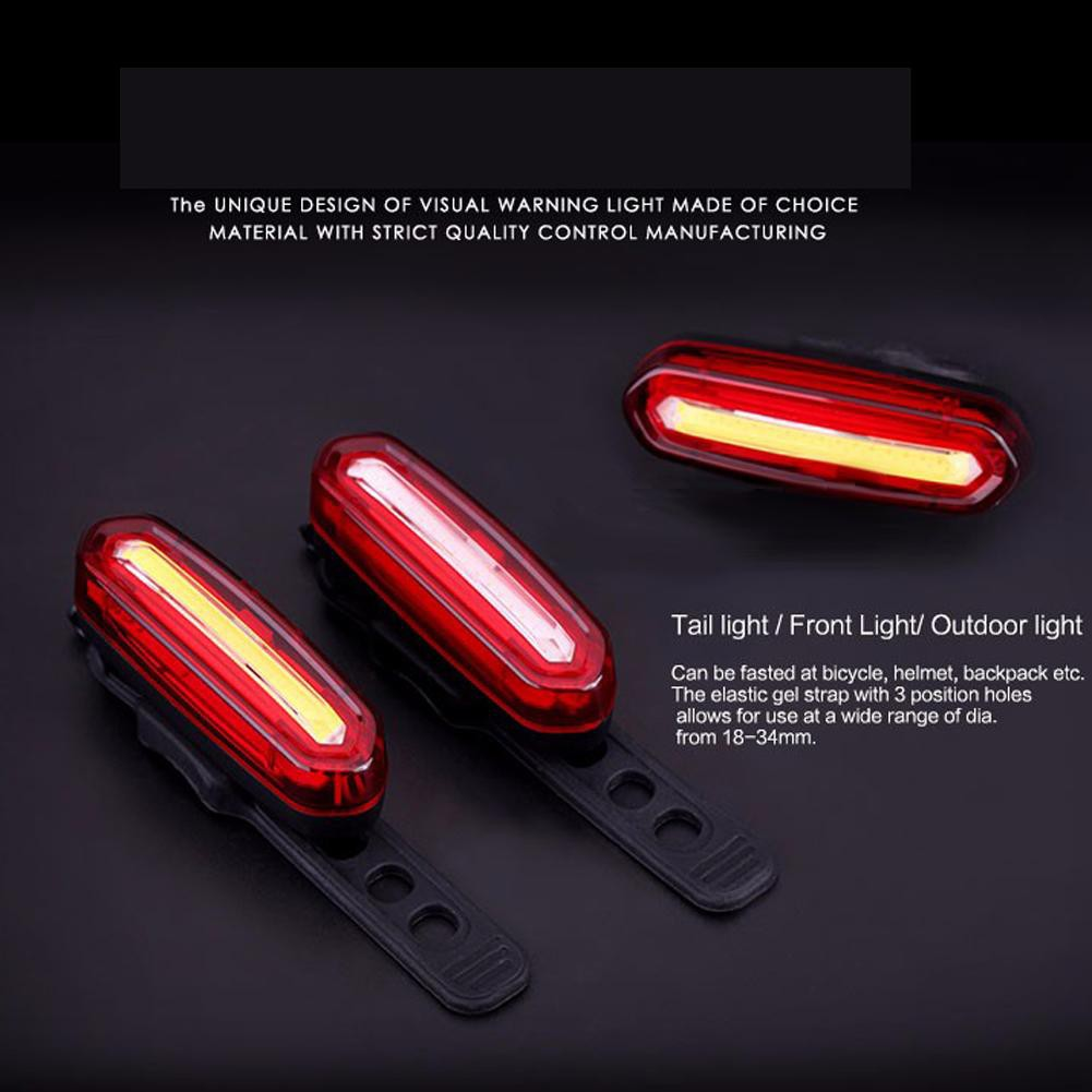 USB Rechargeable COB LED Bicycle Cycling Bike Rear Tail Light Lamp Taillight YK