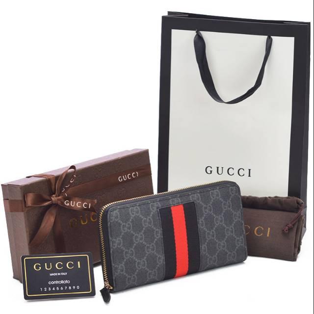 a93182943b3 Box + Dompet Cowok Pendek Gucci Bi-Fold Supreme GG Print Snake Ular Premium  KULIT ASLI ORI LEATHER