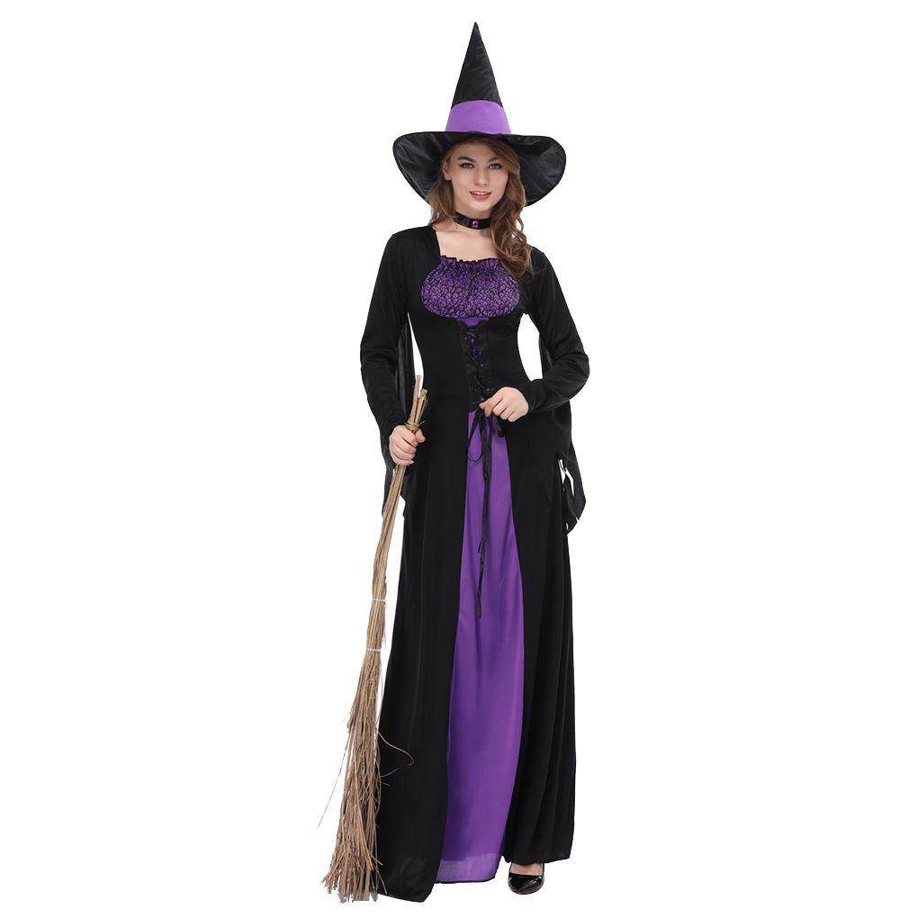 Gaun Wanita dengan Model Kostum Penyihir dan Warna Hitam Ungu untuk Cosplay / Halloween   Shopee Indonesia