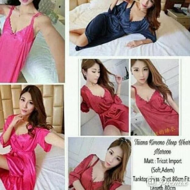 13bd2c1445 ... CL✉ Baju Tidur Cewek Wanita Piyama Kimono Tanktop Dress Murah High  Quality ...