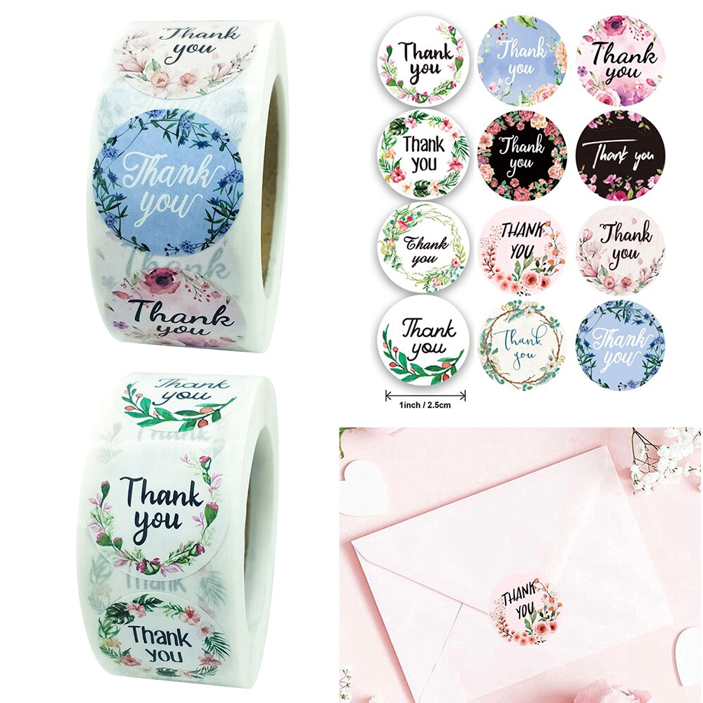500pc 1inch Thank You Round Sticker Diy Decorative Gifts Package Sealing Labels Shopee Indonesia