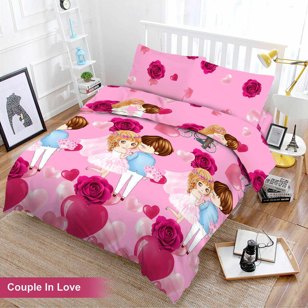 Bed Cover Set 3d King Vito Terbaru Motif Couple In Love Shopee Indonesia