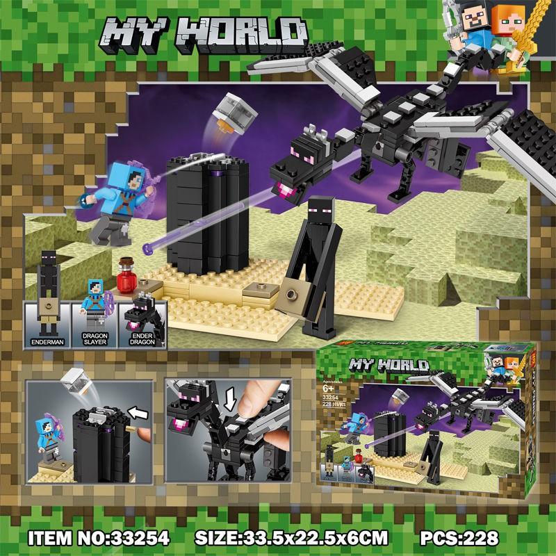 Mainan Balok Bangunan Lego Minecraft Enderman Dragon Warna Hitam Untuk Hadiah Anak Laki Laki 21151 Shopee Indonesia