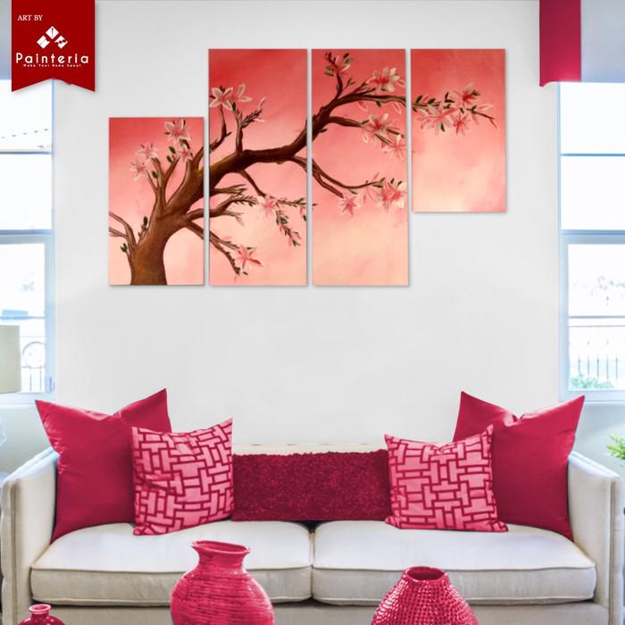 Lihat Detail Lukisan Bunga Sakura Musim Semi Minimalis Di Kanvas