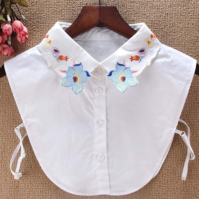 Simple Fashion Fake Collar Embroidered Flower Lady Wild Sweater Shirt Accessories Decorate Shopee Indonesia