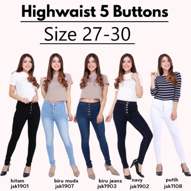 (5 Warna) Celana Jeans Highwaist Kancing Button Celana HW 5 JSK Denim Melar 1108/1901/1902/1903   Shopee Indonesia