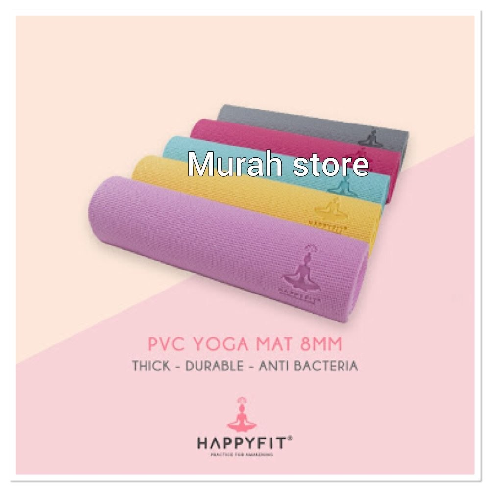 Matras Yoga Happy Fit Premium 8 Mm Shopee Indonesia 8mm Tpe Rubber Eco Mat Anti Slip Bag Limited Edition