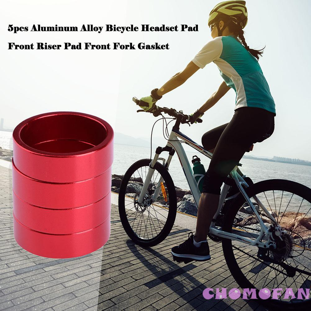 5pcs Aluminum Alloy Bicycle Headset Pad Front Riser Pad Front Fork Gasket