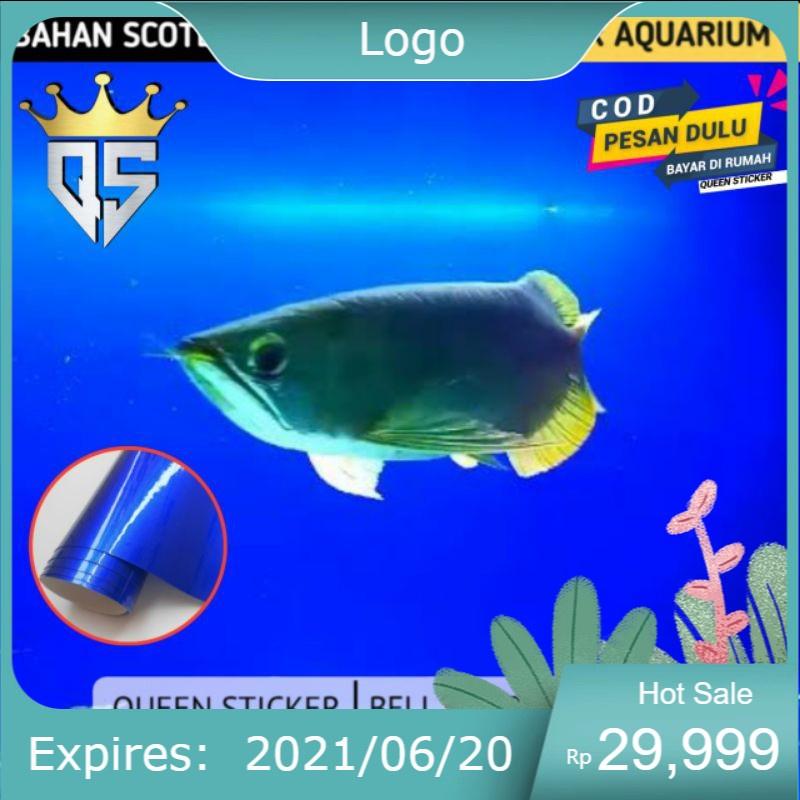 Stiker Aquarium Background Biru Polos / Sticker Skotlet Aquarium