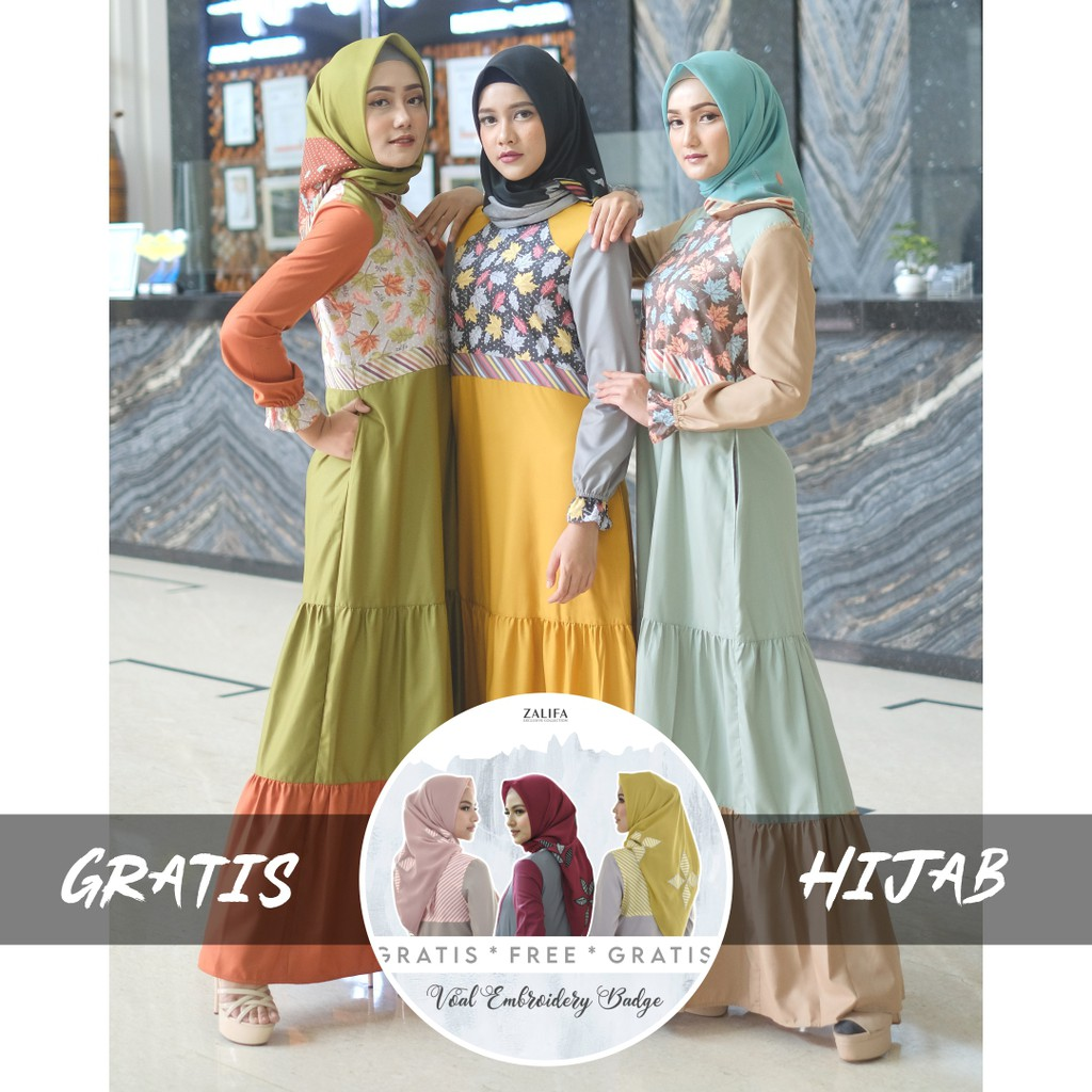GRATIS HIJAB - INDAH Dress by Zalifa Exclusive Collection - Baju Muslim Wanita - Gamis