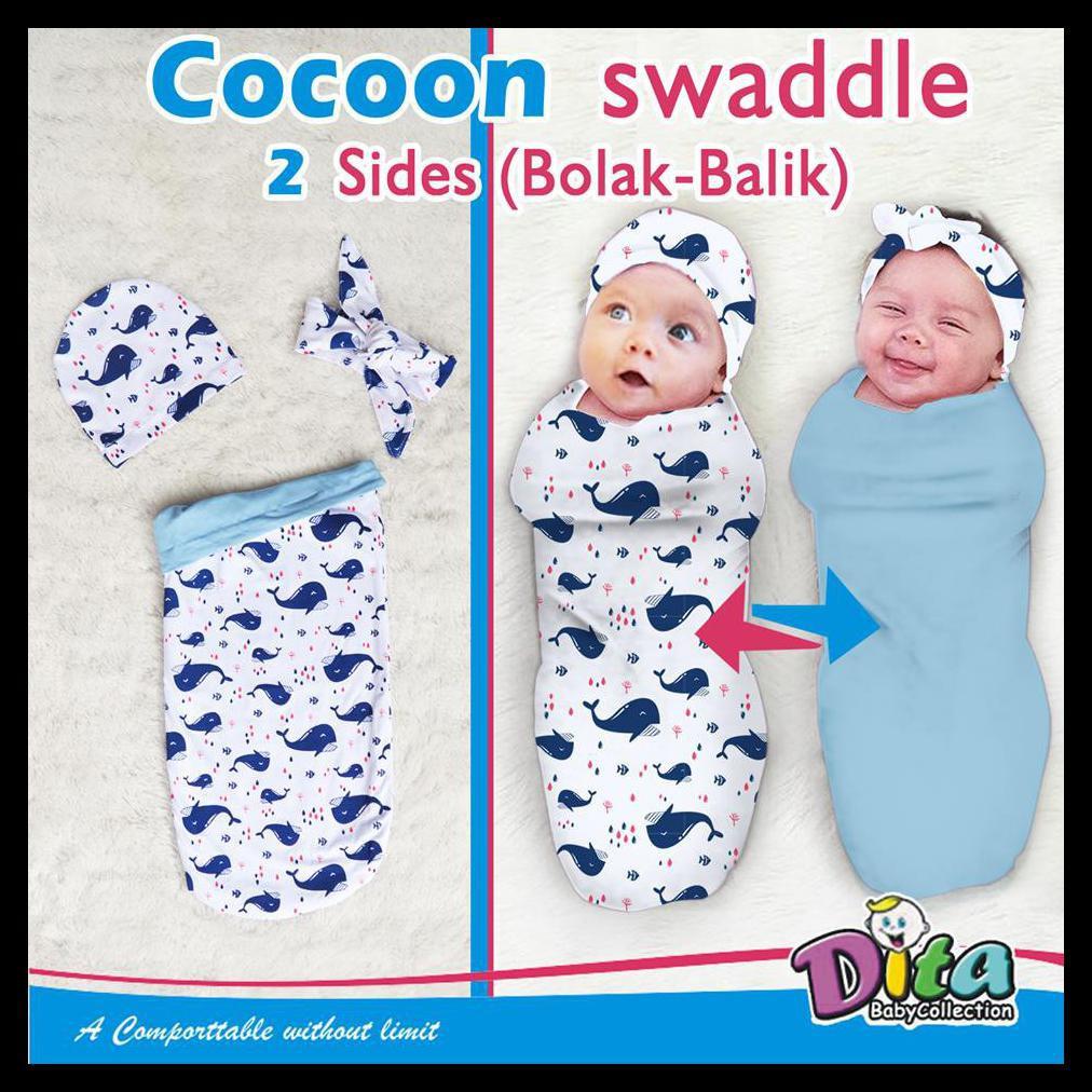 Bedong Plus Topi Cocoon Swaddle Plus Topi Saja Bedong Bayi Bedong Instan Bayi Set Hat  