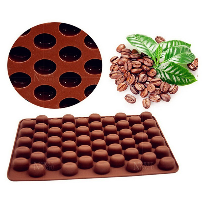 55 Coffee Bean Silicone Mould Cake Chocolate Jelly Candy Soap Baking Mold CF